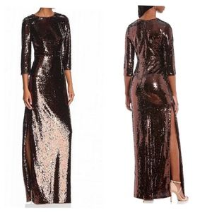 Aidan Mattox Metallic Sequin Side Slit Sheath Gown